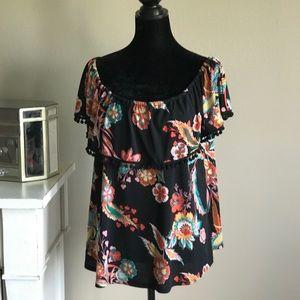 NWOT eci Black Floral Off The Shoulder Top Size XL